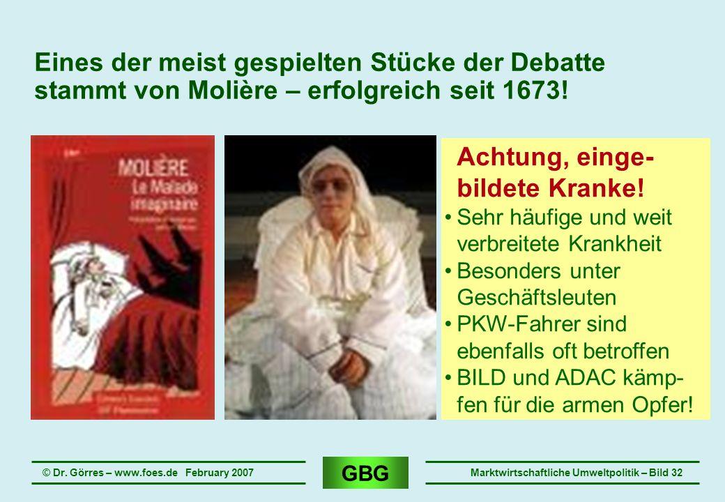 GBG © Dr. Görres – www.foes.de February 2007Marktwirtschaftliche Umweltpolitik – Bild 32 Eines der meist gespielten Stücke der Debatte stammt von Moli