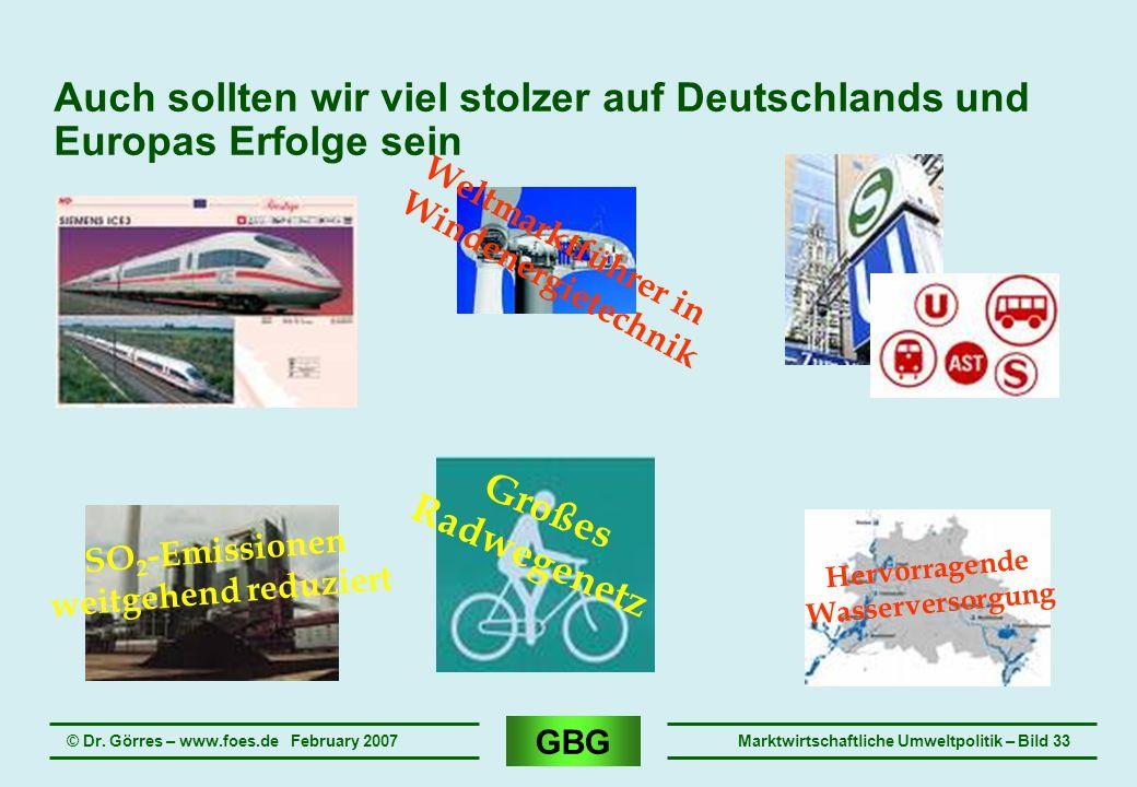 GBG © Dr. Görres – www.foes.de February 2007Marktwirtschaftliche Umweltpolitik – Bild 33 Auch sollten wir viel stolzer auf Deutschlands und Europas Er