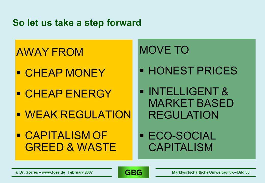 GBG © Dr. Görres – www.foes.de February 2007Marktwirtschaftliche Umweltpolitik – Bild 36 So let us take a step forward AWAY FROM CHEAP MONEY CHEAP ENE