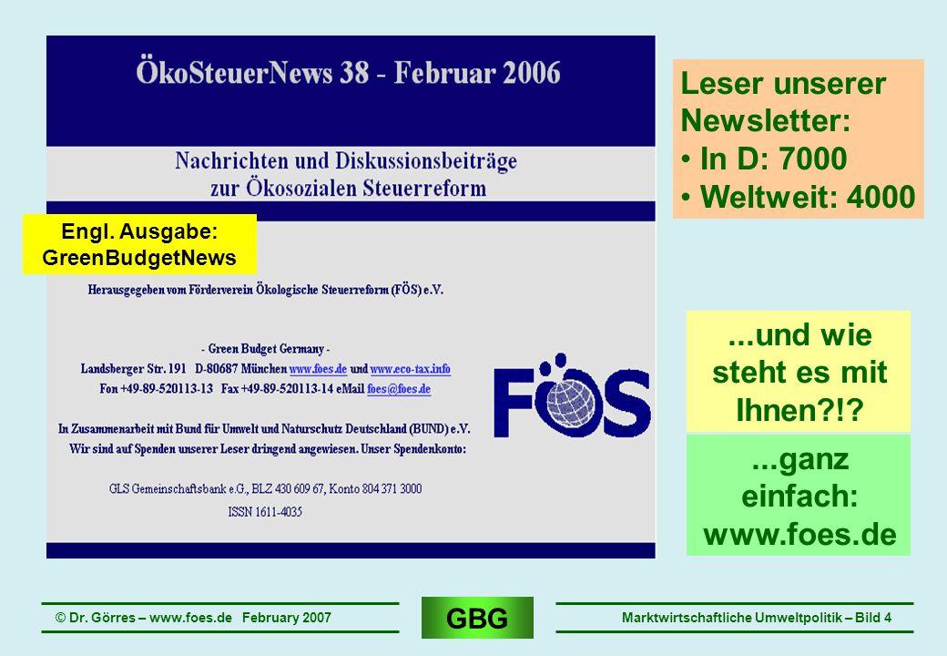 GBG © Dr. Görres – www.foes.de February 2007Marktwirtschaftliche Umweltpolitik – Bild 4 Leser unserer Newsletter: In D: 7000 Weltweit: 4000...und wie