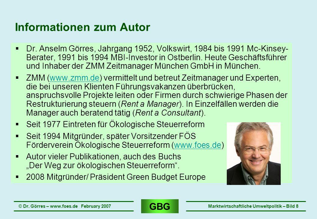 GBG © Dr. Görres – www.foes.de February 2007Marktwirtschaftliche Umweltpolitik – Bild 8 Informationen zum Autor Dr. Anselm Görres, Jahrgang 1952, Volk