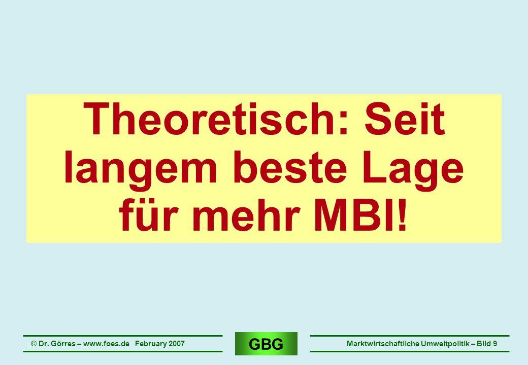 GBG © Dr. Görres – www.foes.de February 2007Marktwirtschaftliche Umweltpolitik – Bild 9 Theoretisch: Seit langem beste Lage für mehr MBI!