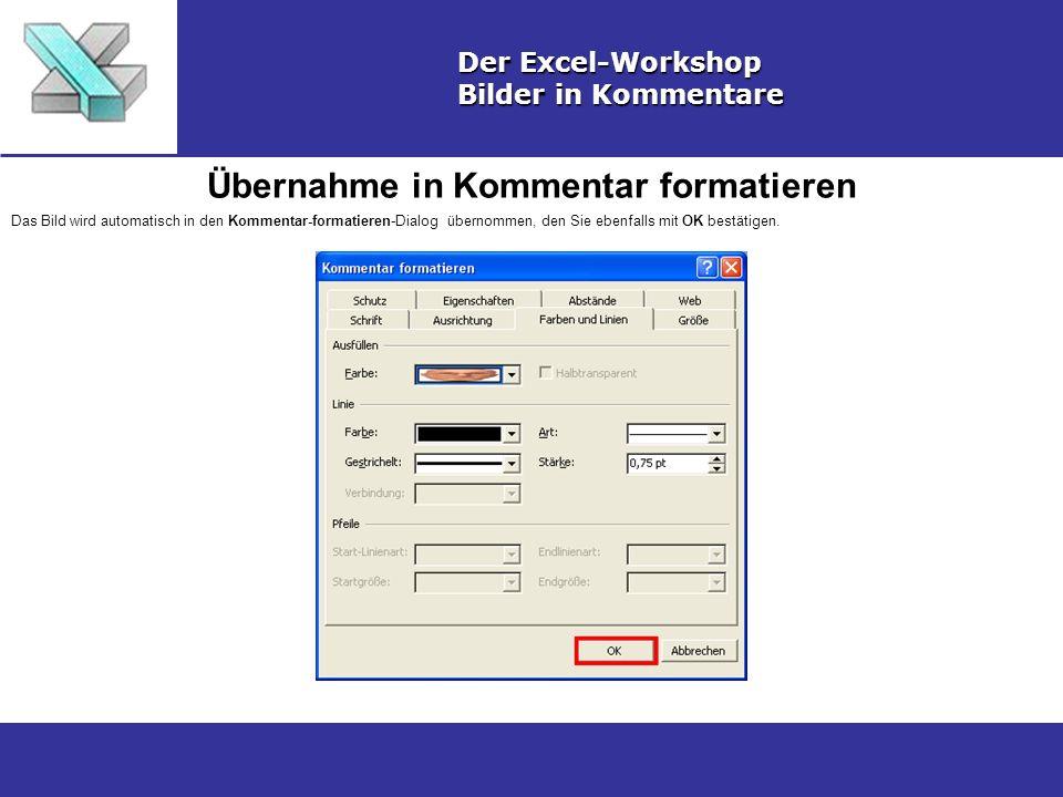 Übernahme in Kommentar formatieren Der Excel-Workshop Bilder in Kommentare Das Bild wird automatisch in den Kommentar-formatieren-Dialog übernommen, den Sie ebenfalls mit OK bestätigen.