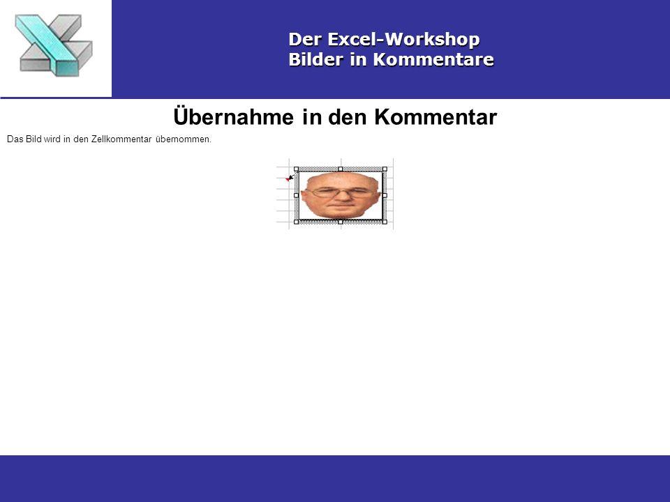 Übernahme in den Kommentar Der Excel-Workshop Bilder in Kommentare Das Bild wird in den Zellkommentar übernommen.