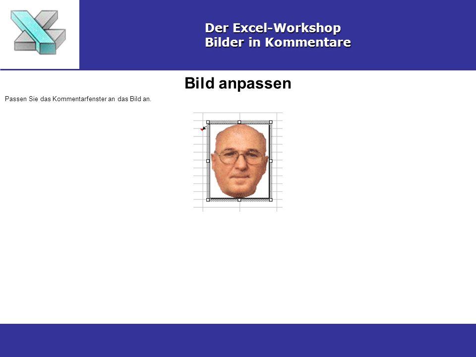Bild anpassen Der Excel-Workshop Bilder in Kommentare Passen Sie das Kommentarfenster an das Bild an.