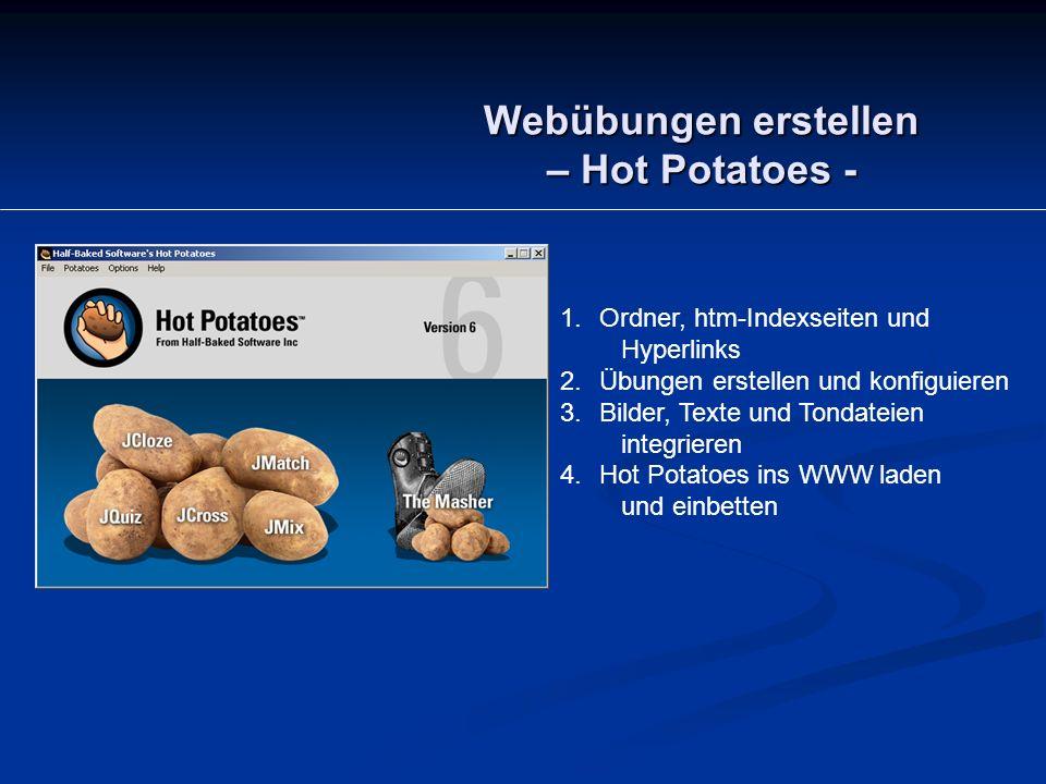 Webübungen erstellen – Hot Potatoes - 1.Ordner, htm-Indexseiten und Hyperlinks 2.Übungen erstellen und konfiguieren 3.Bilder, Texte und Tondateien integrieren 4.Hot Potatoes ins WWW laden und einbetten