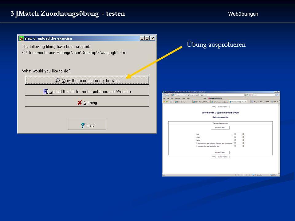Webübungen 3 JMatch Zuordnungsübung - testen Übung ausprobieren