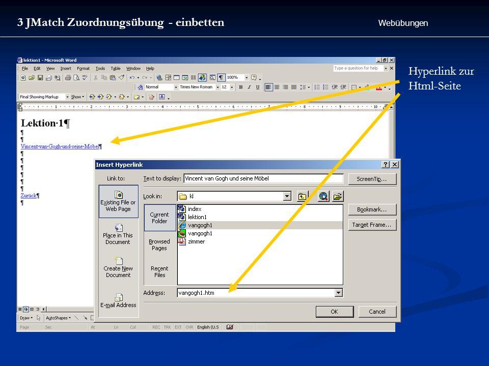Webübungen 3 JMatch Zuordnungsübung - einbetten Hyperlink zur Html-Seite