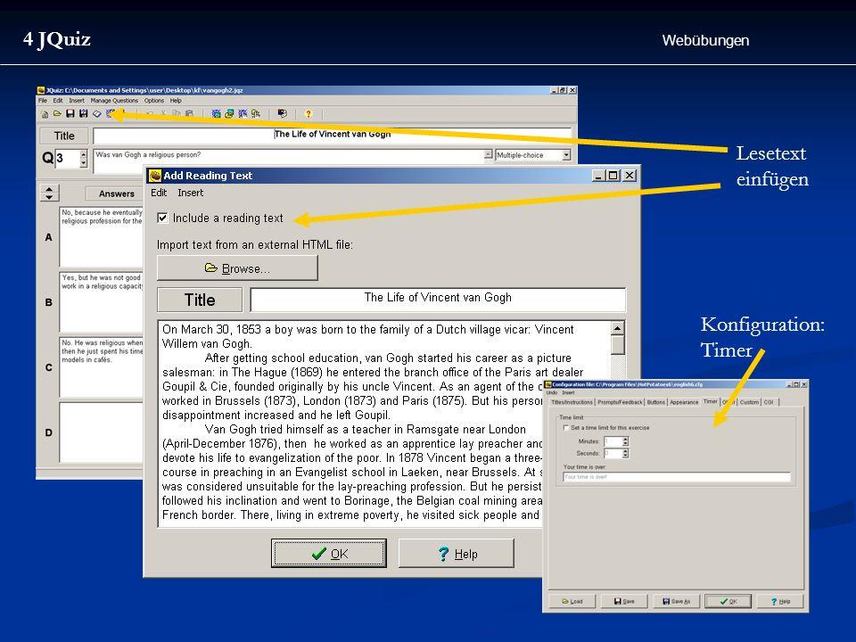4 JQuiz Webübungen Lesetext einfügen Konfiguration: Timer