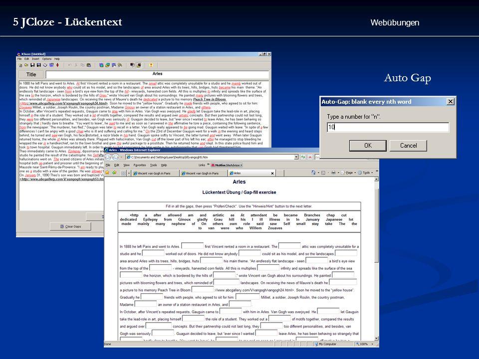 5 JCloze - Lückentext Webübungen Auto Gap