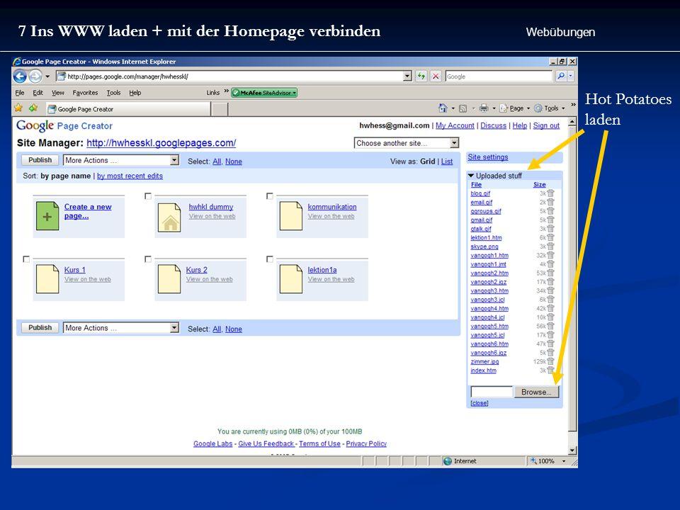 7 Ins WWW laden + mit der Homepage verbinden Webübungen Hot Potatoes laden