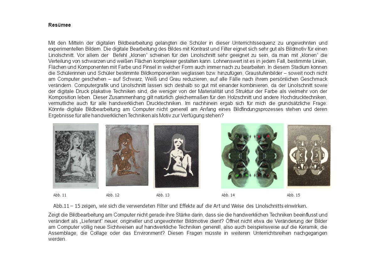 Resümee Mit den Mitteln der digitalen Bildbearbeitung gelangten die Schüler in dieser Unterrichtssequenz zu ungewohnten und experimentellen Bildern. D