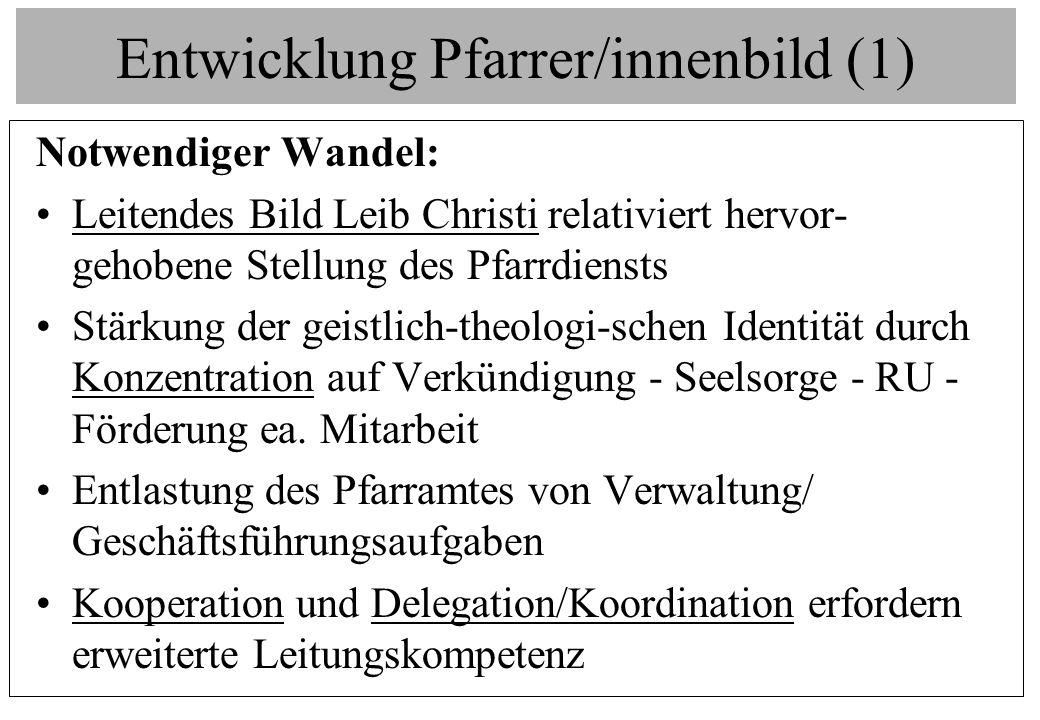 Entwicklung Pfarrer/innenbild (1) Notwendiger Wandel: Leitendes Bild Leib Christi relativiert hervor- gehobene Stellung des Pfarrdiensts Stärkung der