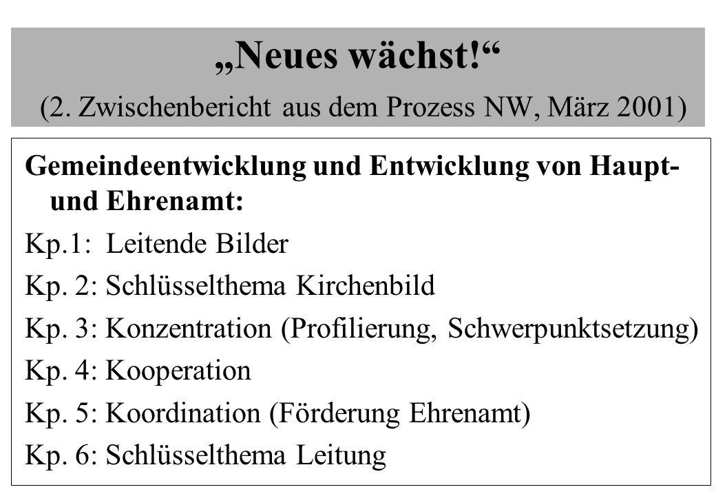 Neues wächst! (2. Zwischenbericht aus dem Prozess NW, März 2001) Gemeindeentwicklung und Entwicklung von Haupt- und Ehrenamt: Kp.1: Leitende Bilder Kp