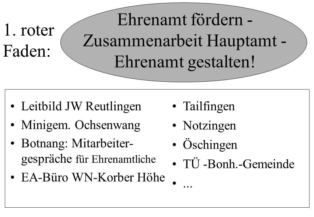 Ehrenamt fördern - Zusammenarbeit Hauptamt - Ehrenamt gestalten! Leitbild JW Reutlingen Minigem. Ochsenwang Botnang: Mitarbeiter- gespräche für Ehrena