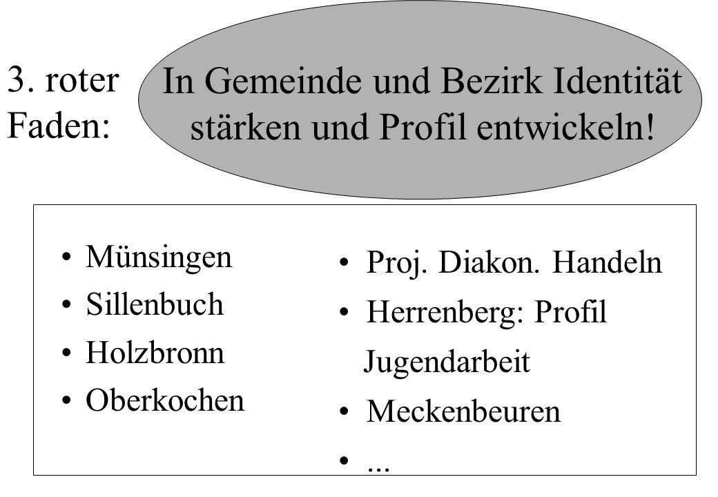 In Gemeinde und Bezirk Identität stärken und Profil entwickeln! Münsingen Sillenbuch Holzbronn Oberkochen 3. roter Faden: Proj. Diakon. Handeln Herren