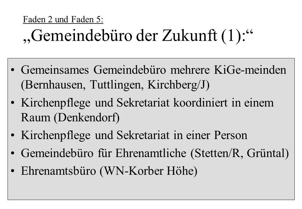 Faden 2 und Faden 5: Gemeindebüro der Zukunft (1): Gemeinsames Gemeindebüro mehrere KiGe-meinden (Bernhausen, Tuttlingen, Kirchberg/J) Kirchenpflege u