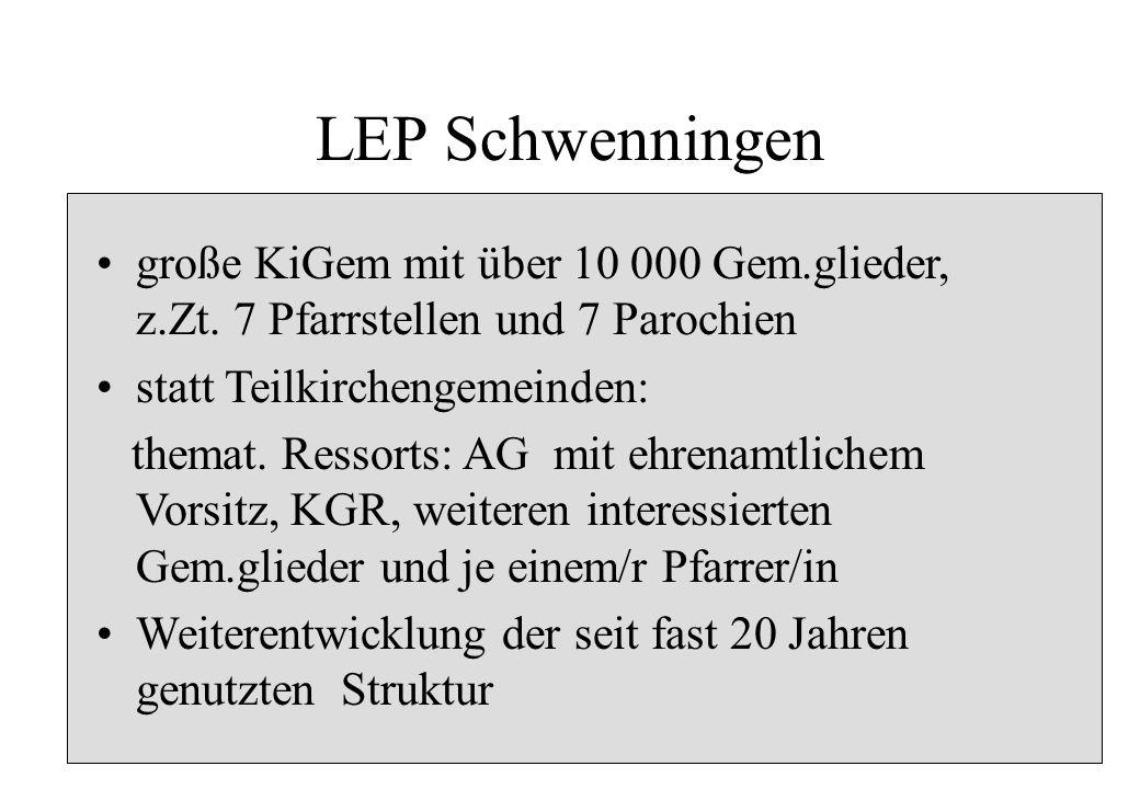 LEP Schwenningen große KiGem mit über 10 000 Gem.glieder, z.Zt. 7 Pfarrstellen und 7 Parochien statt Teilkirchengemeinden: themat. Ressorts: AG mit eh