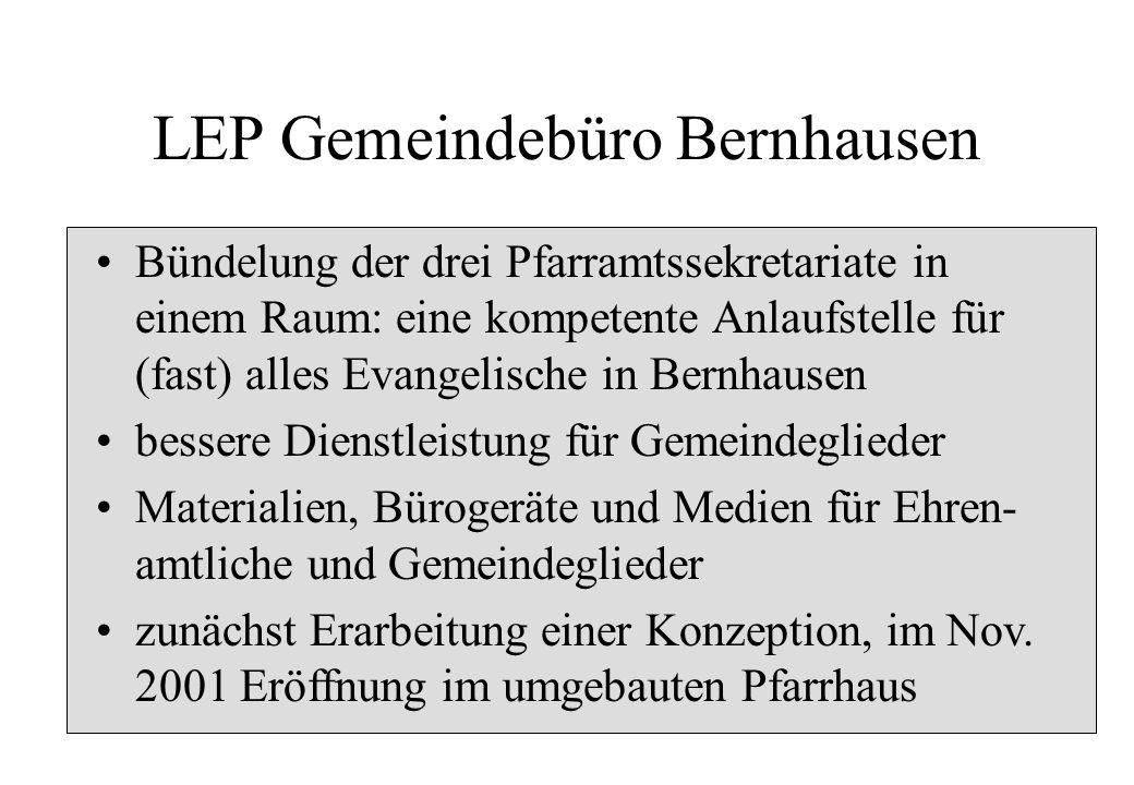 LEP Gemeindebüro Bernhausen Bündelung der drei Pfarramtssekretariate in einem Raum: eine kompetente Anlaufstelle für (fast) alles Evangelische in Bern