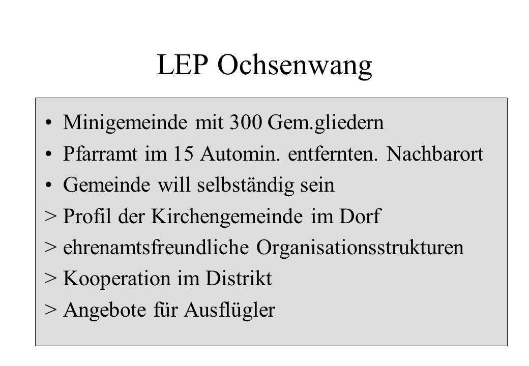 LEP Ochsenwang Minigemeinde mit 300 Gem.gliedern Pfarramt im 15 Automin. entfernten. Nachbarort Gemeinde will selbständig sein >Profil der Kirchengeme
