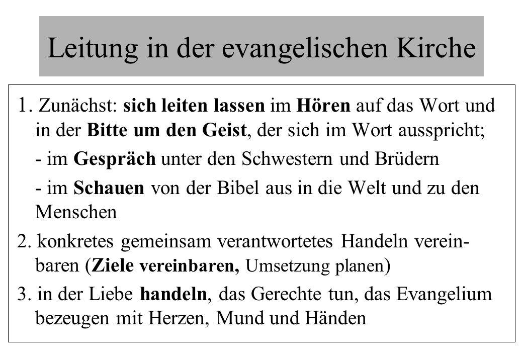Leitung in der evangelischen Kirche 1. Zunächst: sich leiten lassen im Hören auf das Wort und in der Bitte um den Geist, der sich im Wort ausspricht;