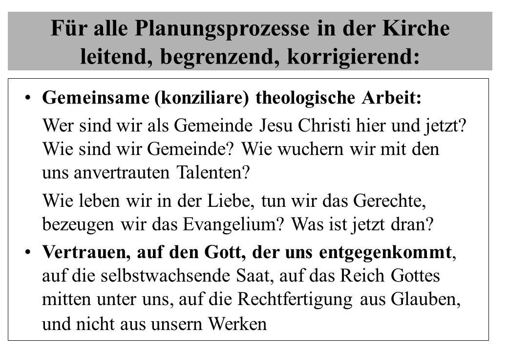 Für alle Planungsprozesse in der Kirche leitend, begrenzend, korrigierend: Gemeinsame (konziliare) theologische Arbeit: Wer sind wir als Gemeinde Jesu