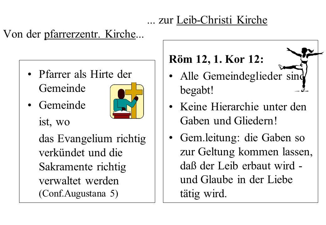... zur Leib-Christi Kirche Von der pfarrerzentr. Kirche... Pfarrer als Hirte der Gemeinde Gemeinde ist, wo das Evangelium richtig verkündet und die S