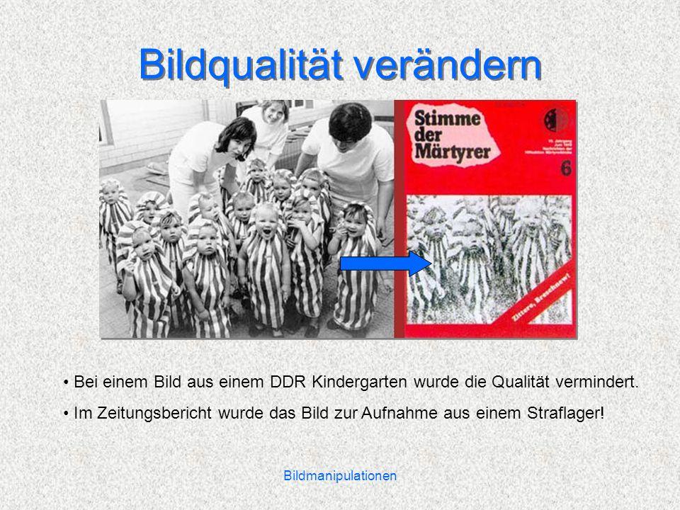 Bildmanipulationen Bildqualität verändern Bei einem Bild aus einem DDR Kindergarten wurde die Qualität vermindert.