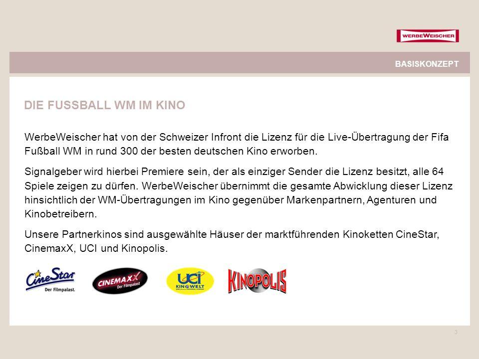 3 WerbeWeischer hat von der Schweizer Infront die Lizenz für die Live-Übertragung der Fifa Fußball WM in rund 300 der besten deutschen Kino erworben.