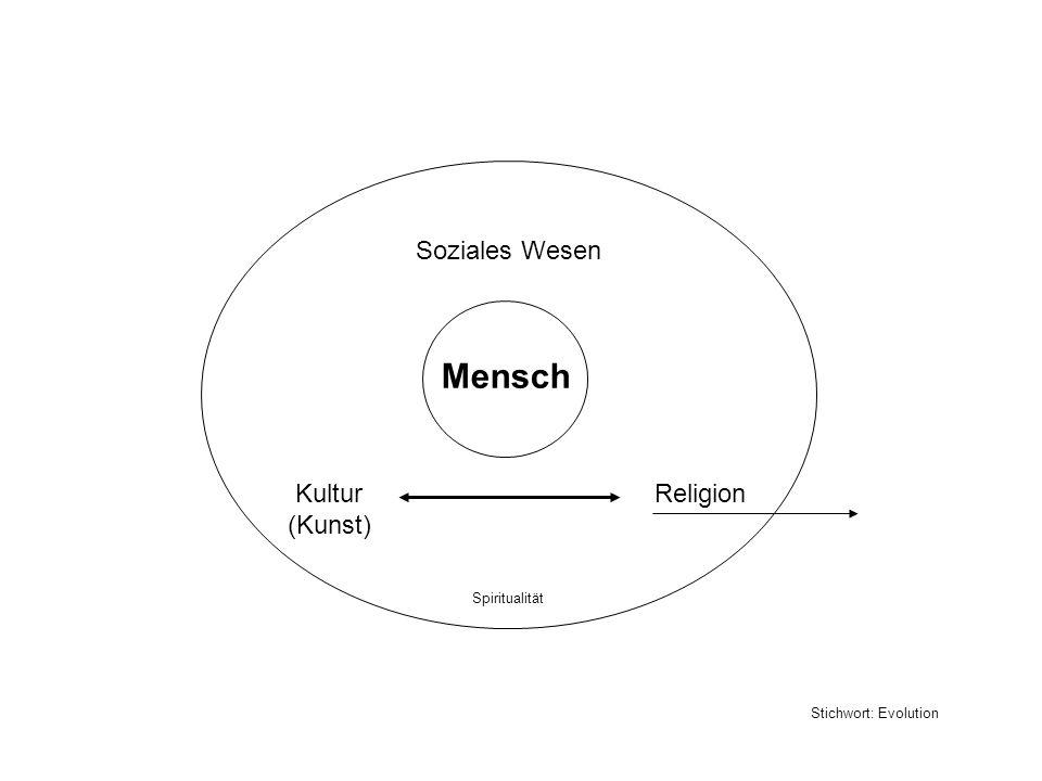 Mensch Soziales Wesen Kultur (Kunst) Religion Spiritualität Stichwort: Evolution