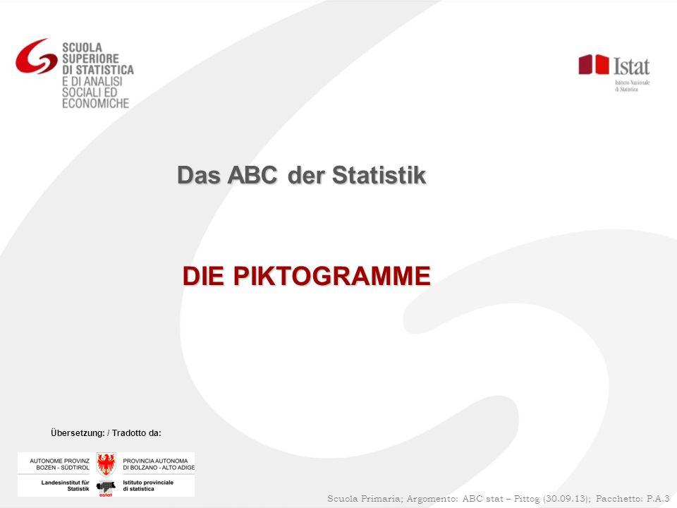 DIE PIKTOGRAMME Das ABC der Statistik Scuola Primaria; Argomento: ABC stat – Pittog (30.09.13); Pacchetto: P.A.3 Übersetzung: / Tradotto da: