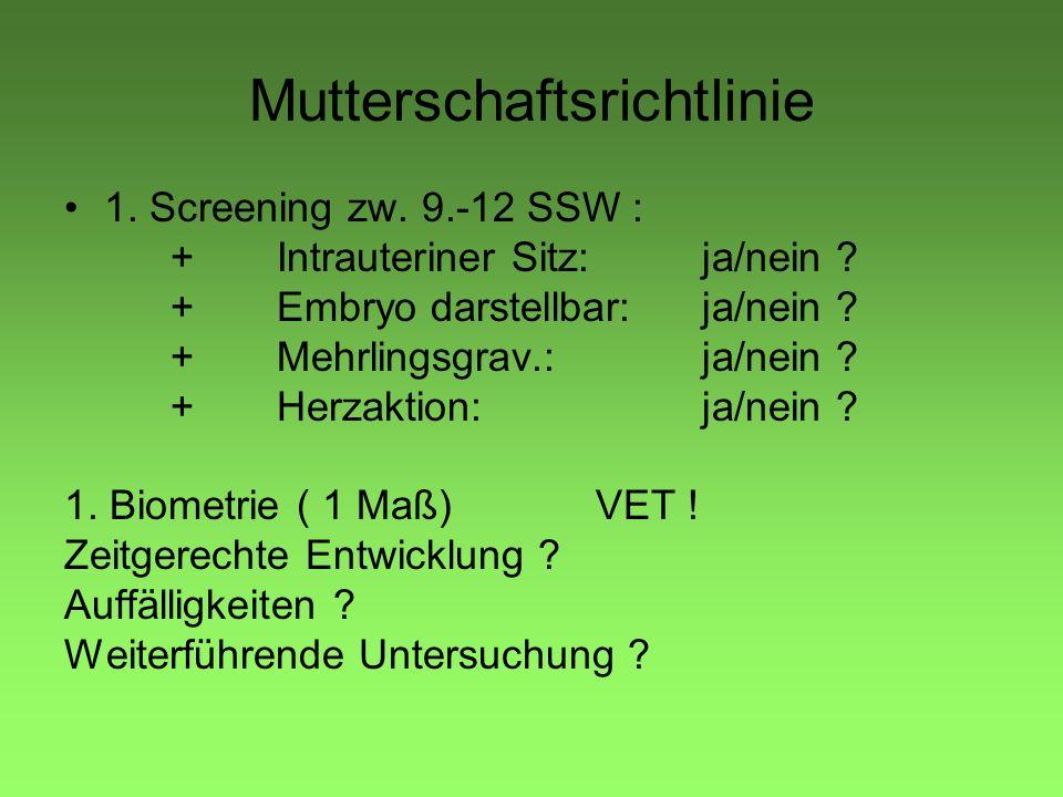Mutterschaftsrichtlinie 1. Screening zw. 9.-12 SSW : +Intrauteriner Sitz:ja/nein ? +Embryo darstellbar:ja/nein ? +Mehrlingsgrav.:ja/nein ? +Herzaktion