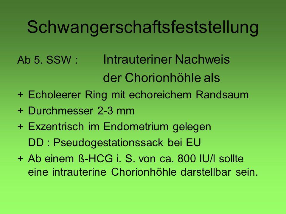 Schwangerschaftsfeststellung Ab 5. SSW : Intrauteriner Nachweis der Chorionhöhle als +Echoleerer Ring mit echoreichem Randsaum +Durchmesser 2-3 mm +Ex