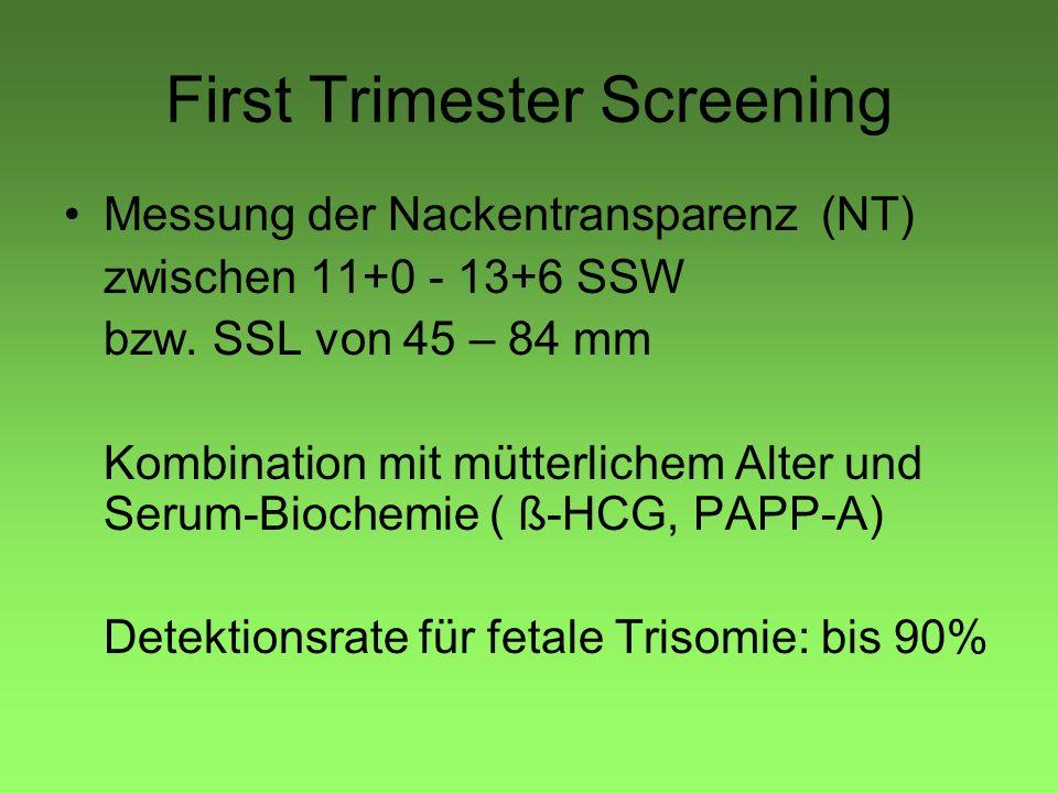 First Trimester Screening Messung der Nackentransparenz (NT) zwischen 11+0 - 13+6 SSW bzw. SSL von 45 – 84 mm Kombination mit mütterlichem Alter und S