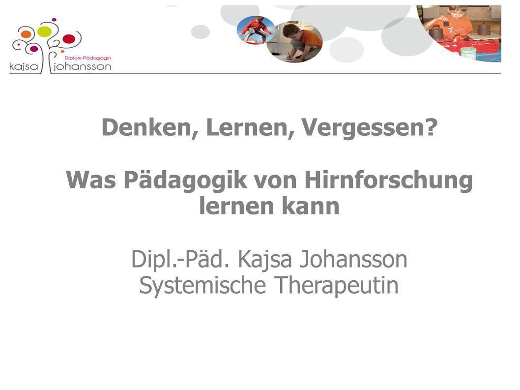 Denken, Lernen, Vergessen? Was Pädagogik von Hirnforschung lernen kann Dipl.-Päd. Kajsa Johansson Systemische Therapeutin