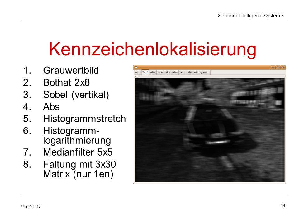14 Mai 2007 Seminar Intelligente Systeme Kennzeichenlokalisierung 1.Grauwertbild 2.Bothat 2x8 3.Sobel (vertikal) 4.Abs 5.Histogrammstretch 6.Histogramm- logarithmierung 7.Medianfilter 5x5 8.Faltung mit 3x30 Matrix (nur 1en)