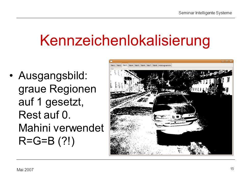 15 Mai 2007 Seminar Intelligente Systeme Kennzeichenlokalisierung Ausgangsbild: graue Regionen auf 1 gesetzt, Rest auf 0. Mahini verwendet R=G=B (?!)