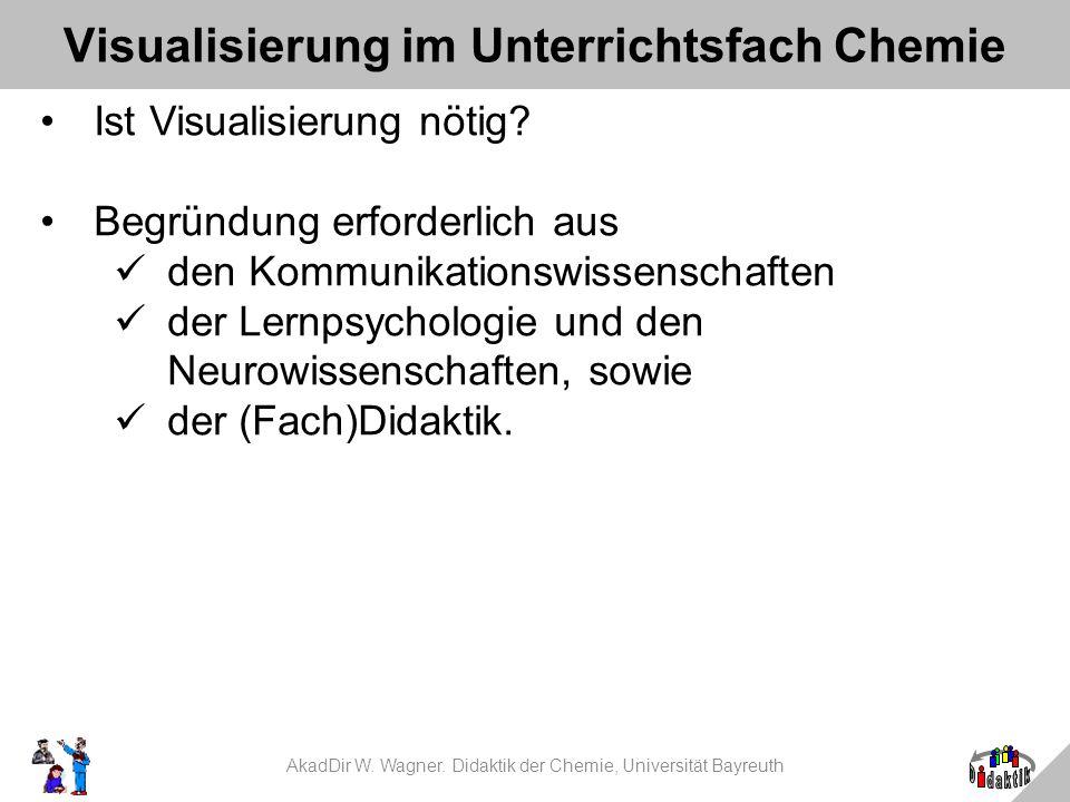 Visualisierung im Unterrichtsfach Chemie Ist Visualisierung nötig? Begründung erforderlich aus den Kommunikationswissenschaften der Lernpsychologie un