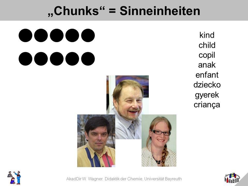 AkadDir W. Wagner. Didaktik der Chemie, Universität Bayreuth Chunks = Sinneinheiten kind child copil anak enfant dziecko gyerek criança