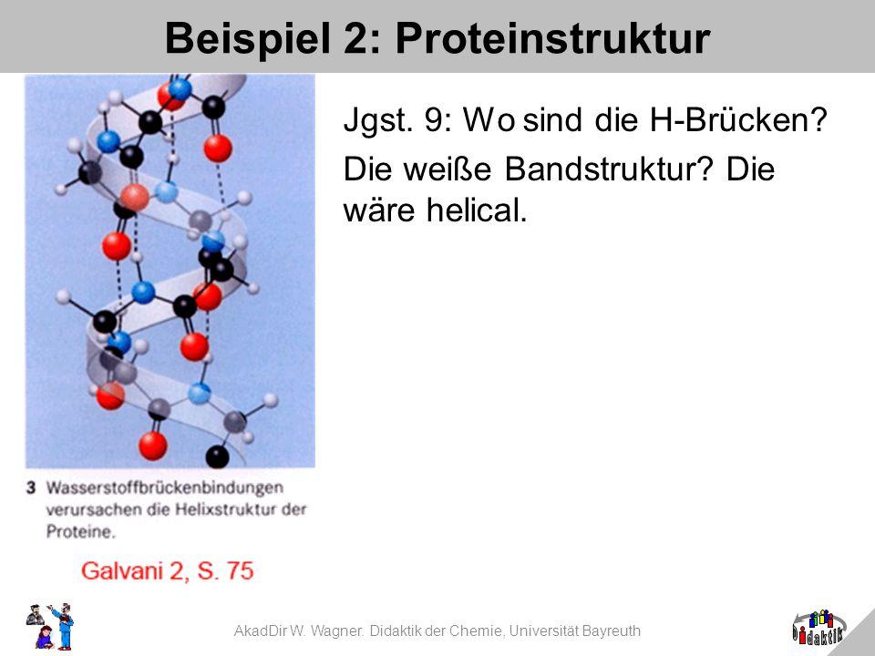 AkadDir W. Wagner. Didaktik der Chemie, Universität Bayreuth Beispiel 2: Proteinstruktur Jgst. 9: Wo sind die H-Brücken? Die weiße Bandstruktur? Die w