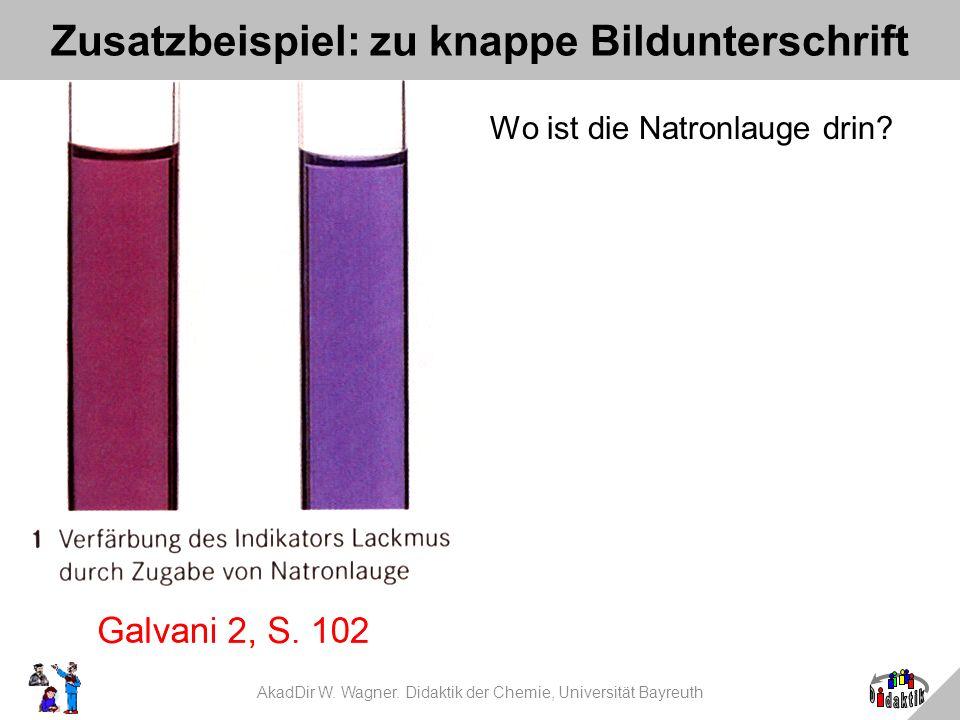 AkadDir W. Wagner. Didaktik der Chemie, Universität Bayreuth Zusatzbeispiel: zu knappe Bildunterschrift Wo ist die Natronlauge drin?