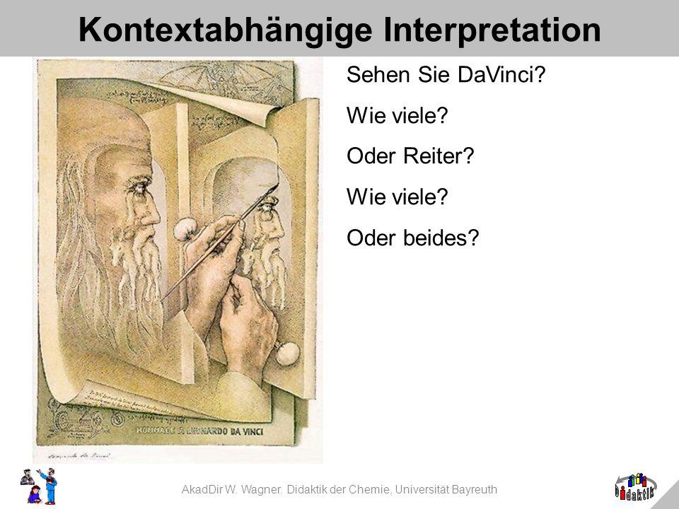 AkadDir W. Wagner. Didaktik der Chemie, Universität Bayreuth Kontextabhängige Interpretation Sehen Sie DaVinci? Wie viele? Oder Reiter? Wie viele? Ode