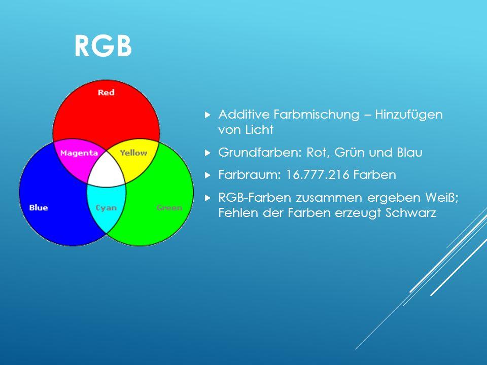RGB Additive Farbmischung – Hinzufügen von Licht Grundfarben: Rot, Grün und Blau Farbraum: 16.777.216 Farben RGB-Farben zusammen ergeben Weiß; Fehlen der Farben erzeugt Schwarz