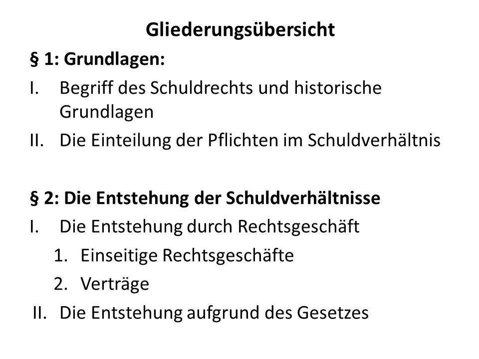 Gliederungsübersicht § 1: Grundlagen: I.Begriff des Schuldrechts und historische Grundlagen II.Die Einteilung der Pflichten im Schuldverhältnis § 2: D