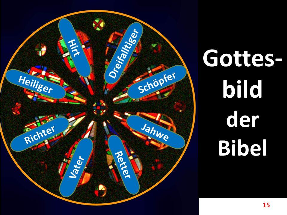 15 Gottes- bild der Bibel Schöpfer Jahwe Retter Vater Richter Heiliger Hirt Dreifalltiger