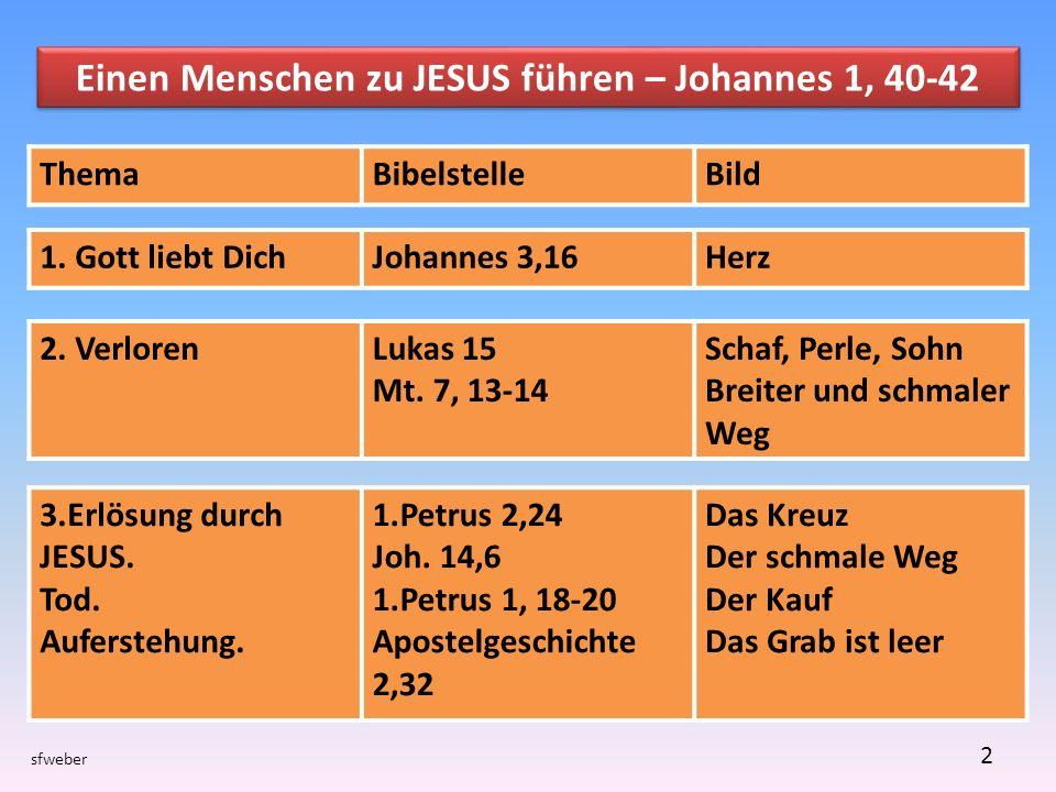 2 Einen Menschen zu JESUS führen – Johannes 1, 40-42 ThemaBibelstelleBild 1.