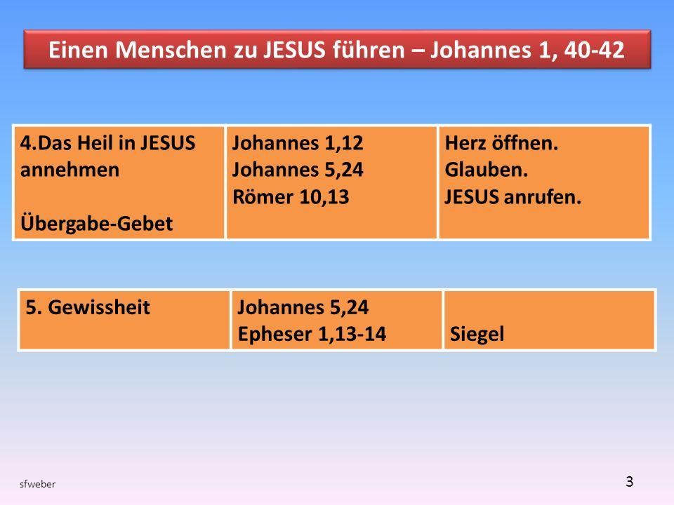 sfweber 3 Einen Menschen zu JESUS führen – Johannes 1, 40-42 5.