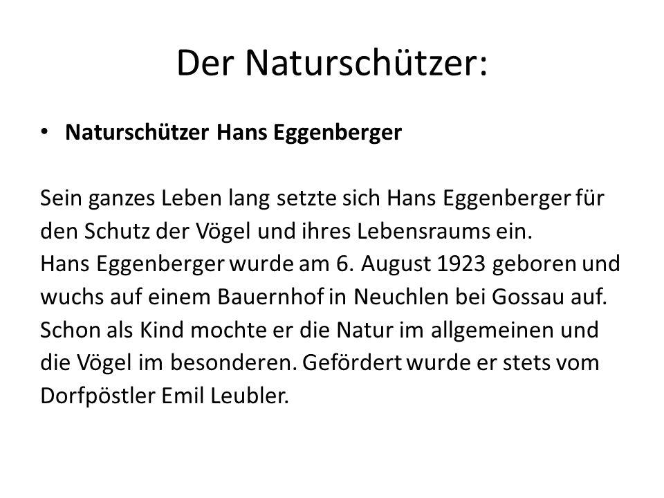 Der Naturschützer: Naturschützer Hans Eggenberger Sein ganzes Leben lang setzte sich Hans Eggenberger für den Schutz der Vögel und ihres Lebensraums ein.