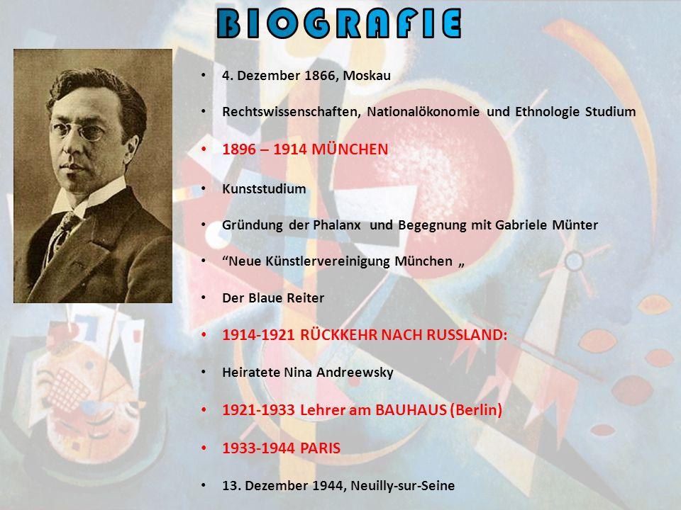 4. Dezember 1866, Moskau Rechtswissenschaften, Nationalökonomie und Ethnologie Studium 1896 – 1914 MÜNCHEN Kunststudium Gründung der Phalanx und Begeg