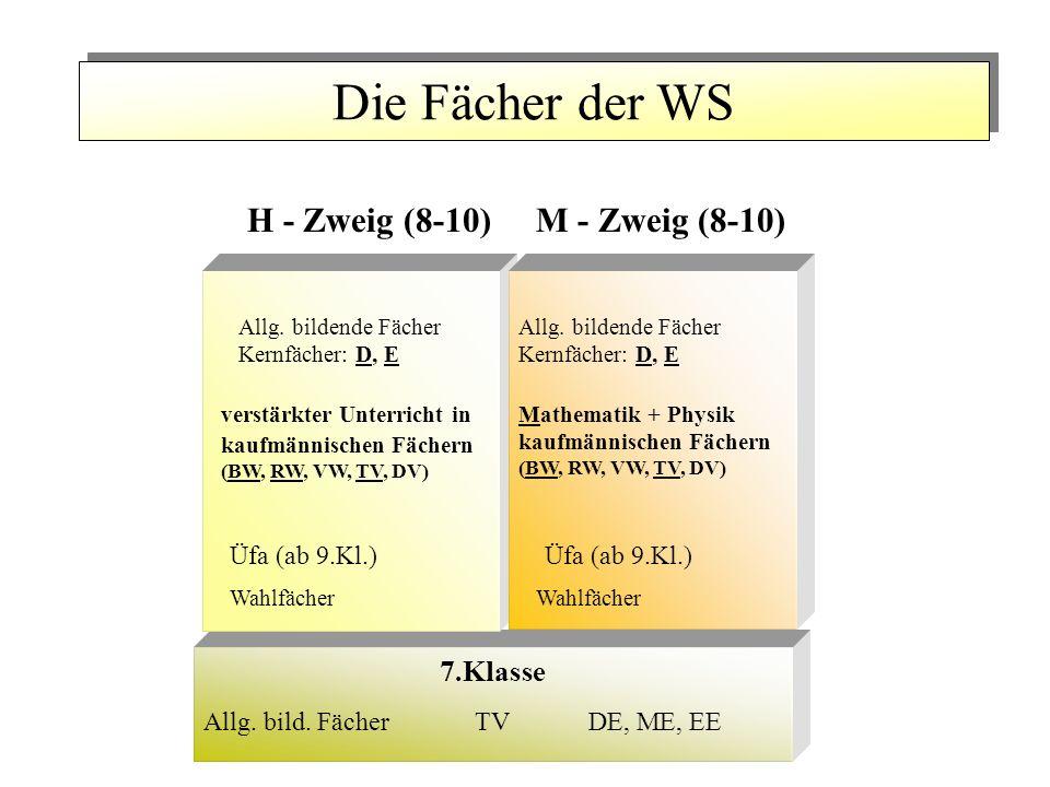 Die Fächer der WS H - Zweig (8-10)M - Zweig (8-10) verstärkter Unterricht in kaufmännischen Fächern (BW, RW, VW, TV, DV) Üfa (ab 9.Kl.) Wahlfächer Mathematik + Physik kaufmännischen Fächern (BW, RW, VW, TV, DV) Üfa (ab 9.Kl.) Wahlfächer DE, ME, EEAllg.